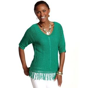 Chicos Shaina Fringe Pullover Sweater Kelly Green